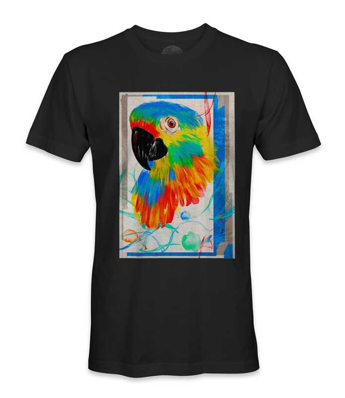 multicolor printed parrot tee shirt