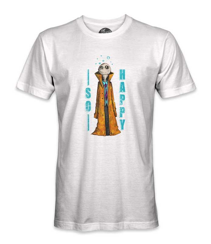 white humanoid printed tee shirt